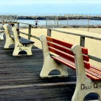 benches of the boardwalk Art Prints & Posters by sue Allen