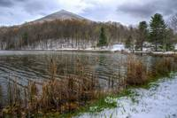 Early snow at Abbot Lake in Virginia