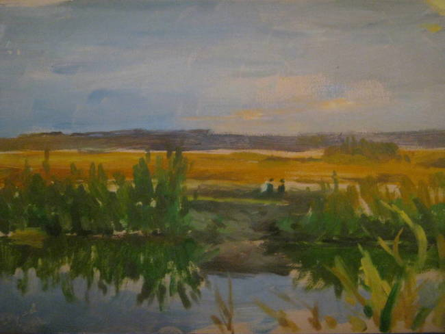 evening at the marshes - two fishermen