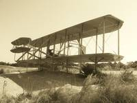 Wright Brothers Replica Airplane-Sepia