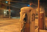 Gas Pumps in the Snow
