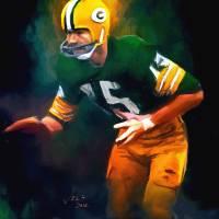 """Bart Starr, NFL Green Bay Packers Painting"" by artofvela"