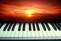 Piano keys sunset