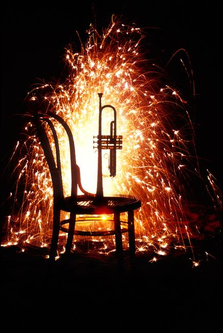 Chair and horn with fireworks