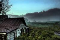 Tin Roof in Fog Johnathan Creek NC by Joe Gemignani