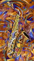A Little Sax Abstract Colorful Jazz Saxophone Prin