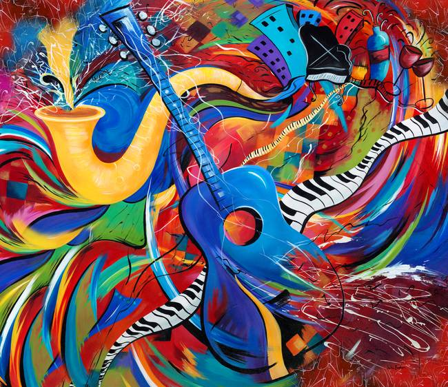 colorful music art musical guitar decor by julie borden - Colorful Art