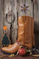 Cowboy boots and Christmas ornaments