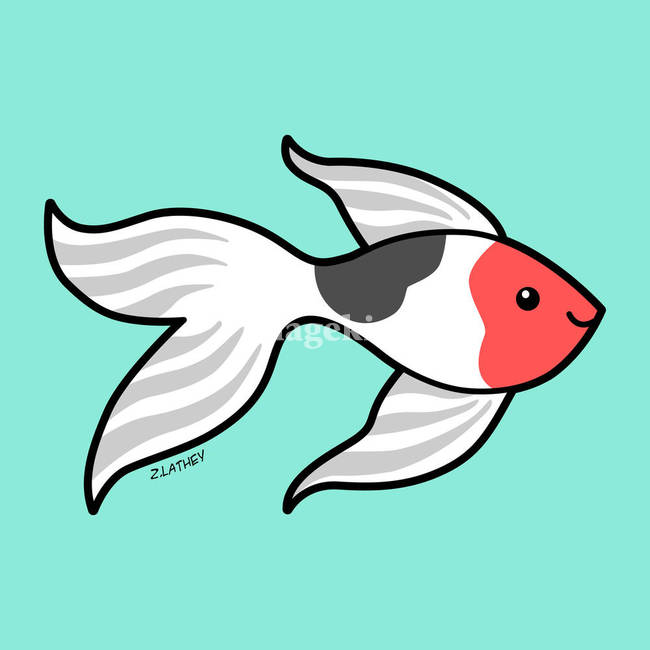 Cute Goldfish - Red white and Black