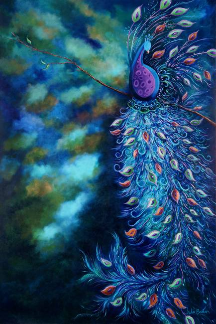 "Dramatic Peacock Feathers Flowers Bridal Bouquet Purple: Contemporary ""Peacock"" Painting Reproductions For Sale On"