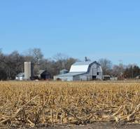 Barn And Silo Beyond The Cornfield