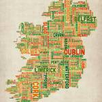 """Ireland Eire City Text Map"" by ModernArtPrints"