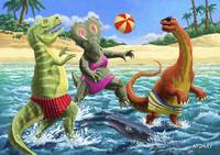 dinosaur fun playing Volleyball on a beach vacatio