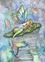 Leaping Carp Colorful Watercolor Mermaid Art Print