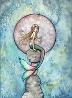 Sinking Moon Mermaid Fantasy Watercolor Art Print