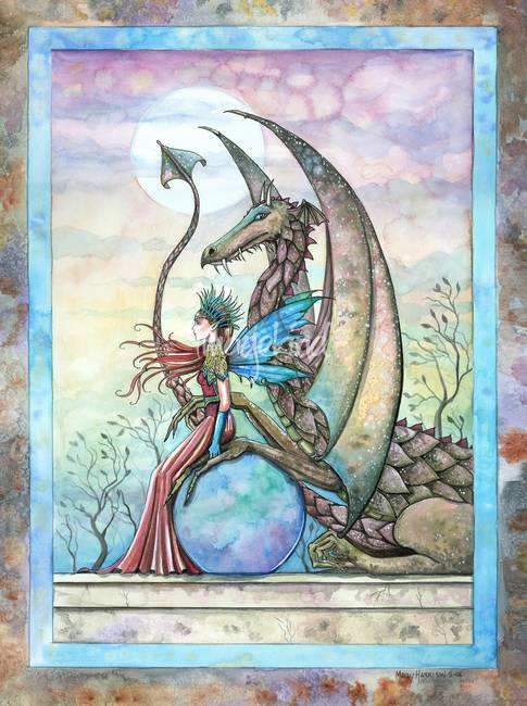 Celestial Companions Fairy and Dragon Fine Art Pri