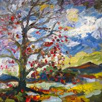 Impressionist Autumn Tree Red Leaves Oil Painting