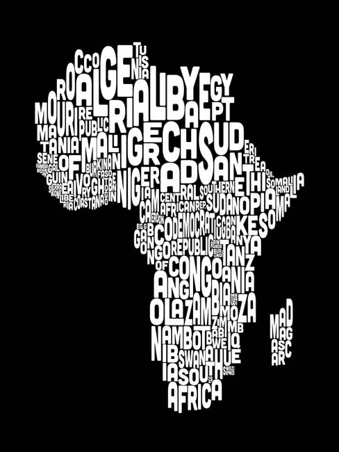 Typography Text Map of Africa Map by Michael Tompsett