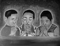 Three Boys Praying(Black and White)