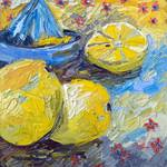 Modern Impressionist Oil Still Life Lemon Art