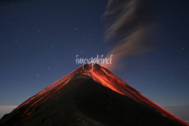 Eruption of Fuego by Moonlight