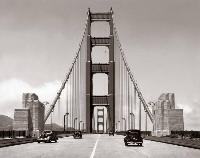 Golden Gate bridge shortly after opening