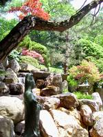Japanese Garden statues and waterfall