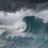 """Sail Boat And Tsunami"" by johnlund"