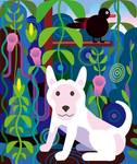 White Dog in Jungle Posters