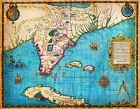 1591 De Bry and Le Moyne Map of Florida and Cuba
