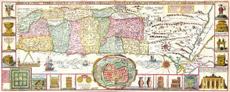 1632 Tirinus Map of the Holy Land Israel w numerou