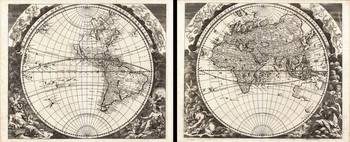 1696 Zahn Map of the World in Two Hemispheres