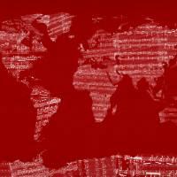 """""""World Map Sheet Music Red"""" by ModernArtPrints"""