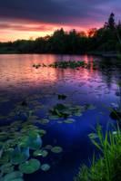 Black Lake, Red Sky by Joshua Cramer