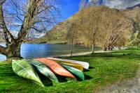 Kayaks on shore of Glendhu Bay