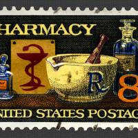 """""""Pharmacy Stamp with Bowl of Hygeia"""" by WilshireImages"""