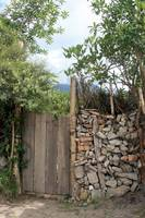 Rock and Wood Fence