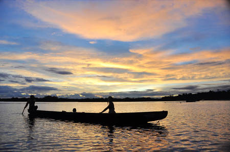 Canoe on Lago Grande, Amazon Jungle, at Sunset