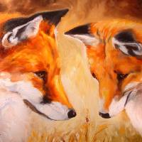 TWO FOX and a LADYBUG by Marcia Baldwin