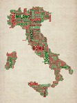 Text Map of Italy Map