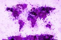 World Map Paint Splashes Purple