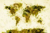 World Map Paint Splashes Yellow
