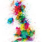 """Great Britain UK Map Paint Splashes"" by ModernArtPrints"