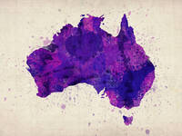 Australia Watercolor Map Art