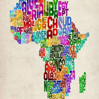"""""""Typography Map of Africa"""" by ModernArtPrints"""
