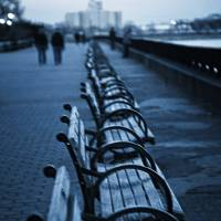 """""""East River Bench - NYC"""" by madeline"""
