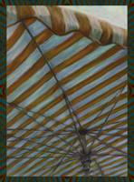 Ochre Striped Umbrella at Outdoor Fruit Market