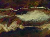 Umber Cotton Field - Abstract Landscape Painting