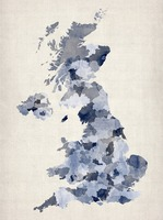 Great Britain UK Watercolor Map