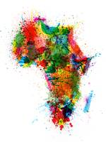Paint Splashes Map of Africa Map